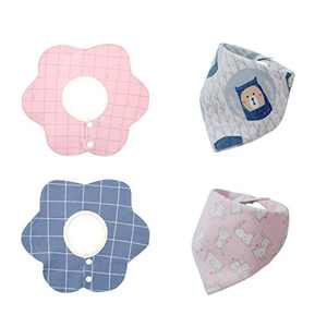 Baby Bibs 4 Pack, 360 ​​Degree Rotation Drool Bibs Baby Bandana Bibs, Soft Absorbent Cotton Bibs Feeder Bibs for Baby Shower (Pink+Blue)