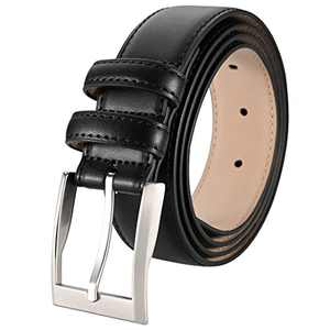 "ToyRis Men's Casual Leather Belts with Single Prong Buckle Basic Dress Belt for Men, 1 3/8"" Width (Black, 44"")"