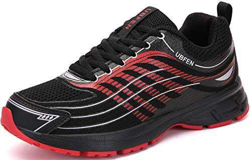 UBFEN Womens Walking Shoes Running Sneakers Black/Red