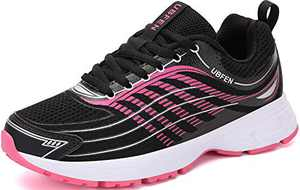 UBFEN Womens Running Shoes Athletic Walking Sneakers Black-Rose Red