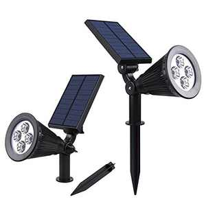 ASLUX Solar Lights Outdoor, Waterproof Solar Landscape Spotlights, Solar Powered Outdoor Lights, 2-in-1 Solar Pathway Lights, Wall Lights, Low Voltage Landscape Lights,Pack of 2 ,Cold White