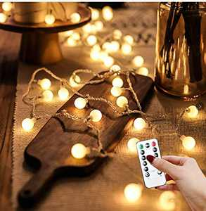 LED String Lights, 43ft 100 LED Globe String Lights Decorative Lighting Strings Plug in Fairy Lights with Remote Control for Indoor Outdoor Wedding Birthday Party Garden Bedroom Wall Decorations