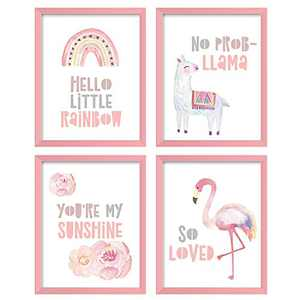 ArtbyHannah 4 Pack 8x10 Inch Unframed Pink Wall Art Print Poster Artwork Decor for Teen Gilrs Bedroom or Baby Girl Playroom Nursery Decor or Wall Decoration