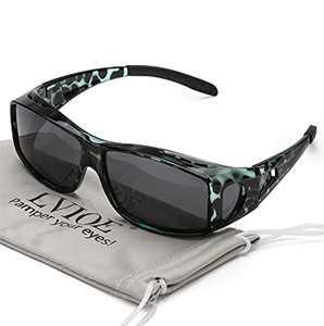 LVIOE Wrap Around Sunglasses, Polarized Lens Wear Over Prescription Glasses, Fit Over Regular Glasses with 100% UV Protection (Blue Tortoise Frame Polarized Gray Lens Wrap Around Sunglasses)