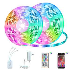 Aipower 32.8ft Led Strip Lights,Smart RGB 5050 Color Changing LED Lights Strip for Bedroom, Kitchen, Home Decoration, with 40 Keys Ir Remote and 12V Power Supply