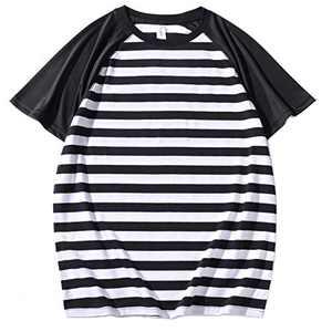 Syrirotus Men's Casual Raglan Baseball 2cm Stripes T-Shirt Basic Short Sleeve Tee Tops(White & Black)