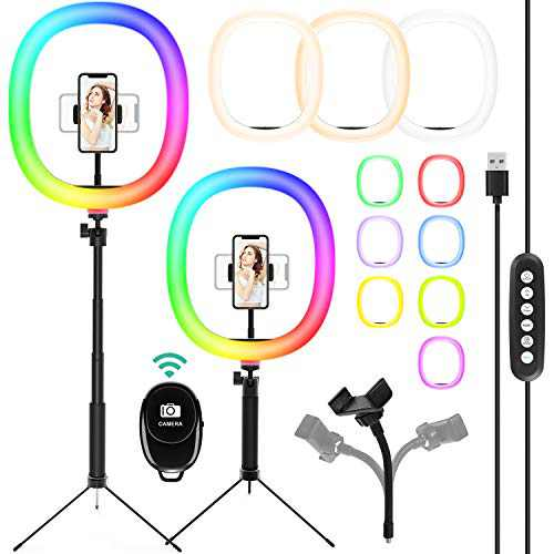 """【Upgraded】 Selfie Ring Light,12"""" RGB Ring Light with Adjustable Tripod Stand/Camera Remote Shutter/Phone Holder for YouTube Live Stream/Makeup, Compatible with iPhone/Android, 10 Brightness Level"""