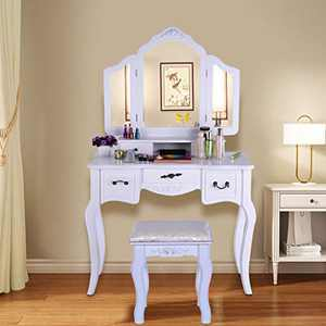 Vanity Beauty Station Makeup Table with Cushioned Stool 5 Drawers Jewelry Organizer and Cushioned Stool for Women, Girls (w35.4 x d15.75 x h57.5) (White)