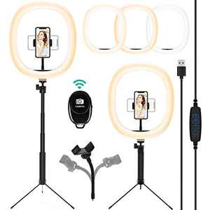 """12"""" Selfie Ring Light with Adjustable Tripod Stand &Camera Remote Shutter&Phone Holder for YouTube Live Streaming, LED Circle Lights Compatible with iPhone/Android, 3 Light Modes&10 Brightness Level"""