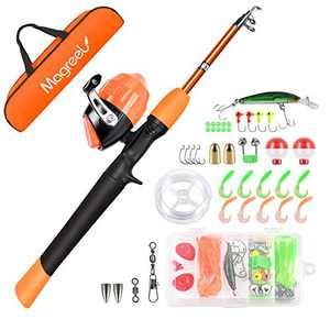 Magreel Kids Fishing Pole, Portable Telescopic Fishing Rod and Reel Combos Full Fish Tackle Kit with Fishing Line, Fishing Gears, Travel Bag for Boys, Girls, Beginner or Youth (orange-2, 120cm/47inch)