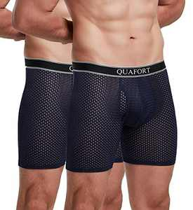 """Men's Breathable Boxer Briefs Cool Mesh Comfort Lightweight Underwear Shorts No Ride Up Open Fly Soft Sports (Navy (2-Pack), S Small (waist 28-32""""))"""