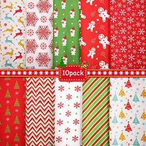 10 Pieces 50 x 50 cm/ 19.68 x 19.68 Inch Christmas Cotton Fabric Squares Quilting Fabric Patchwork Precut Fabric Christmas Snowflake Print Red Green Fabric for DIY Quilting Xmas Sewing Crafting