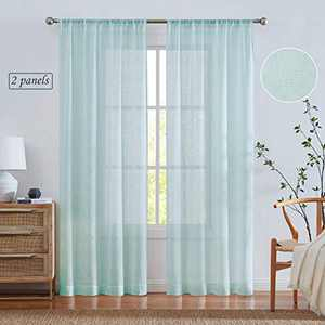 West Lake Farmhouse Sheer Curtain Semi Voile Panels 84 Inches Long Linen Textured Rod Pocket Window Treatment Drape Sets for Living Room, Bedroom, 38 x 63 Inches, Duck Egg Blue/Green, Set of 2 Panels
