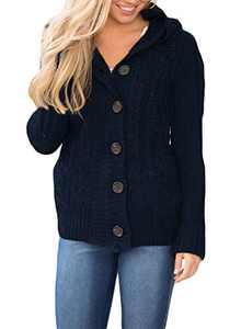 Zecilbo Womens Chunky Knit Cardigans Women Button Up Novelty Outwear A Navy Blue X-Large