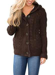Zecilbo Womens Chunky Knit Coats Women Button Up Novelty Sweater Coat A Brown X-Large