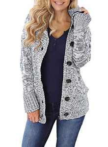 Zecilbo Womens Winter Button Up Cardigans Women Knit Chunky Outwear A Dark Gray Medium