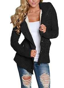 Zecilbo Womens Button Oversized Cardigan Sweater Women Button Oversized Sweaters A Black Large