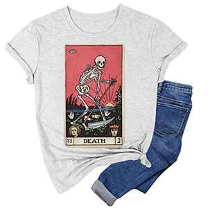 Desert Witch Halloween T-Shirts Women Funny Hocus Pocus Graphic Summer Casual Tee Tops (Grey #1, XL)