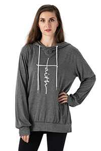 Vensivy Women's Faith Letter Printed Hoodie Casual Cowl Neck Long Sleeve Drawstring Pullover Tunic Hooded Sweatshirt Topts (Grey, M)