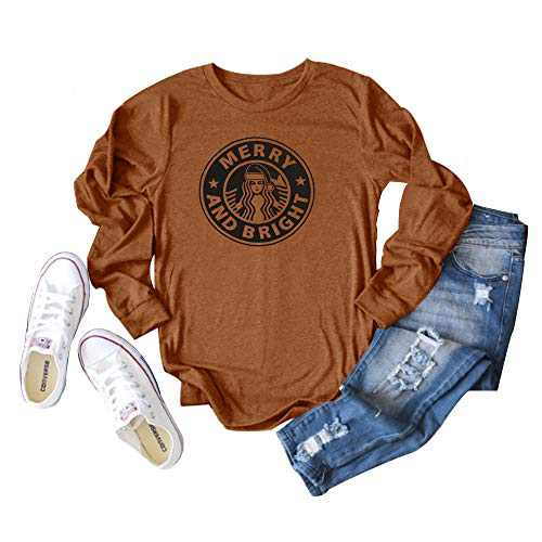 GEMLON Women Merry and Bright Sweatshirt Christams Coffee Graphic Long Sleeve Baseball Top (Chocolate, XL)