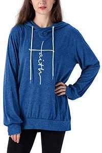 Vensivy Women's Faith Letter Printed Hoodie Casual Cowl Neck Long Sleeve Drawstring Pullover Tunic Hooded Sweatshirt Topts (Blue, XL)