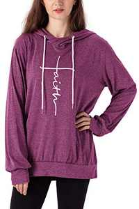 Women's Faith Letter Printed Hoodie Casual Cowl Neck Long Sleeve Drawstring Pullover Tunic Hooded Sweatshirt Topts (Purple, XL)