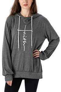 Vensivy Women's Faith Letter Printed Hoodie Casual Cowl Neck Long Sleeve Drawstring Pullover Tunic Hooded Sweatshirt Topts (Grey, L)