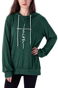 Vensivy Women's Faith Letter Printed Hoodie Casual Cowl Neck Long Sleeve Drawstring Pullover Tunic Hooded Sweatshirt Topts (Green, L)