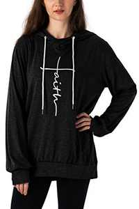 Vensivy Women's Faith Letter Printed Hoodie Casual Cowl Neck Long Sleeve Drawstring Pullover Tunic Hooded Sweatshirt Topts (Black, S)