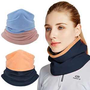 Neck Gaiter For Men Winter Neck Warmer Face Mask Reversible Bandana Fleece Cover Ski Balaclava Scarf-2 PCS