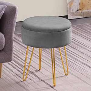 Apicizon Vanity Chair Stool, Velevet Round Storage Ottoman Footrest with Wood Tray Coffee Table & Golden Metal Leg, Dressing Footrest Stool for Bedroom(Grey)