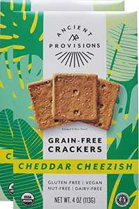 Ancient Provisions Vegan Cheddar Cheezish Crackers, Grain Free, Gluten Free, Organic, Paleo, Top 8 Allergen Free, Nut free, Soy Free (4 Ounce (Pack of 2))