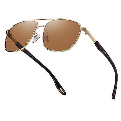 VANLINKER Polarized Square Aviator Mirrored Sunglasses For Men,UV400 Lens Shades VL9567 With Brown Lens/Tortoiseshell Frame