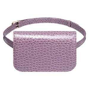 Badiya Women's Mini Waist Bag Fanny Packs Crocodile Leather Cell Phone Pocket (Purple -A)