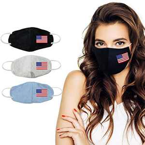 VNFOX 3Pcs Cotton Fabric Face Washable Reusable, Comfortable Elastic Ear Loops, for Women & Men (American Flag)