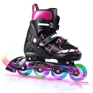 WeSkate Adjustable Inline Skates, Light Up Inline Skates for Children Women Girls