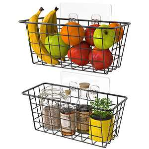 MaraFansie Wire Storage Basket Over the Cabinet Door Organizer, No Drilling Wall Hanging Baskets with Adhesive for Cabinet & Pantry Organization and Kitchen, Bathroom, Bedroom Storage, 2 Pack, Black