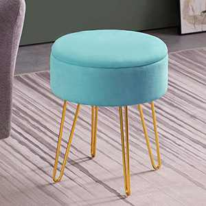 Apicizon Vanity Chair Stool, Velevet Round Storage Ottoman Footrest with Wood Tray Coffee Table & Golden Metal Leg, Dressing Footrest Stool for Bedroom(Teal)