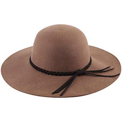 Lanzom Women Lady Retro Wide Brim Large Floppy Panama Hat Belt Wool Fedora Hat (C-Light Coffee, One Size)