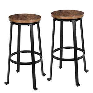 "KOZYSPHERE Bar Stools for Kitchen - 29"" Pub Height Chairs with Metal Frame - Backless Barstools - Set of 2 - Industrial Rustic Brown"