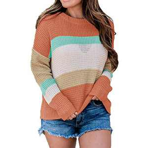 MISSJOY Women's Long Sleeve Crew Neck Color Block Sweater Striped Knit Oversized Pullover Casual Loose Jumper Tops Blouse Orange