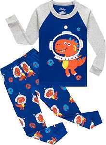 Little Boys Dinosaurs Astronaut Pajamas Christmas Cotton Space Pyjamas Kids Long Sleeve Sleepwear Size 10