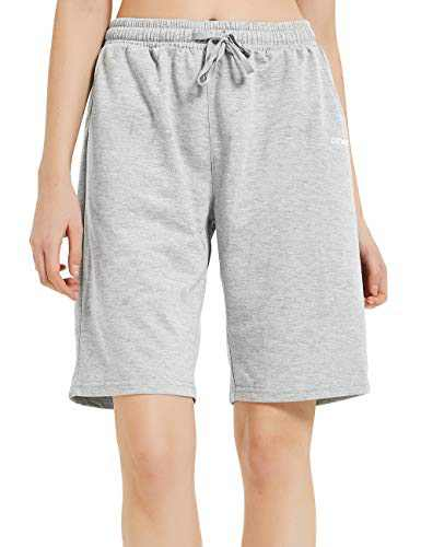 DEMOZU Women's Long Cotton Bermuda Shorts for Casual Summer Knit Basketball Lounge Sweat Shorts with Pockets, Light Grey, S
