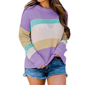 MISSJOY Women's Long Sleeve Crew Neck Color Block Sweater Striped Knit Oversized Pullover Casual Loose Jumper Tops Blouse Purple