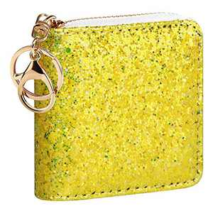 GEEAD Small Glitter Wallet for Women Girls Mini Coin Purse Pouches with Key Ring (Yellow)