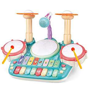 TOONEV Baby Musical Instruments Toys,Kids Drum Set Electronic Piano Keyboard and Xylophone 3 in 1 Multifunction Toddler Toys with Drum Sticks Microphone and Light Musical Toys Gift for Girl and Boy