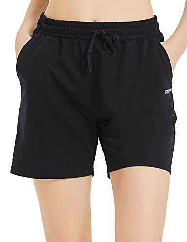"""DEMOZU Women's 5"""" Cotton Sweat Shorts for Casual Summer Athletic Lounge Walking Jogger Shorts with Pockets, Black, M"""