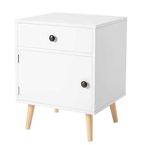 VASAGLE Side Table, Nightstand with 1 Drawer, Durable, for Bedroom, Living Room, Office, 17.7 x 15.8 x 23.6 inches, White
