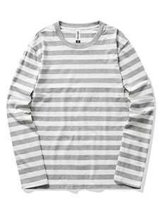 Syrirotus Essential Men's Crew-Neck 2cm Stripes T-Shirts Casual Cotton Spandex Tee Long Sleeve Tops(White & Gray)
