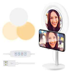 """Selfie Ring Light with Phone Holder and Mirror, 6.2"""" Desktop Circle Light with 3 Lighting Colors and 10 Brightness, Portable Halo Light for YouTube/Makeup/Live Stream/Video Shooting"""